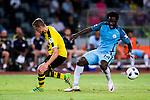 SHENZHEN - JULY 28: Manchester City striker Wilfried Bony (r) fights for the ball with Borussia Dortmund midfielder Sven Bender (l) during the match between Borussia Dortmund vs Manchester City FC at the 2016 International Champions Cup China match at the Shenzhen Stadium on 28 July 2016 in Shenzhen, China. (Photo by Power Sport Images/Getty Images)