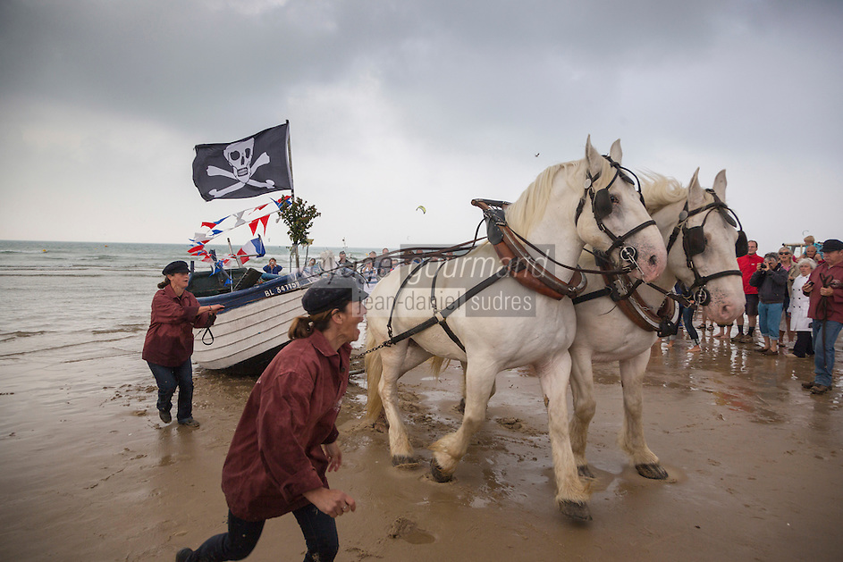 France, Pas-de-Calais (62), Côte d'Opale, Wissant, chevaux boulonnais tirant un flobart dans la mer avec le Cap Blanc-Nez en arrière plan -  Fête des Flobarts, bateau de pêche traditionnel // France, Pas de Calais, Cote d'Opale, Wissant, Boulonnais horses pulling a flobart in the sea with the Cape Blanc-Nez in the background - Day flobarts, traditional fishing boat