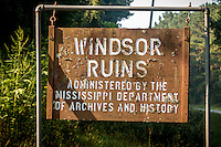 The&nbsp;Windsor Ruins&nbsp;near&nbsp;Port Gibson&nbsp;Mississippi, are those of the largest&nbsp;antebellum&nbsp;Greek Revival&nbsp;mansion built in the state, and have been used in various motion pictures.  At one time the plantation covered 2,600 acres. Smith Coffee Daniell II, who was born in Mississippi in 1826, the son of an Indian fighter turned farmer and landowner, constructed the mansion itself in 1859-1861. Basic construction of the house, which was designed by David Shroder was done by slave labor. The bricks for use in the 45-foot columns were made in a kiln across the road from the house. The columns were then covered with mortar and plaster. There were 29 of these columns supporting the projecting roof line with its plain, broad frieze and molded cornice. This provided protection for the galleries that encompassed the house at the second and third levels. The fluted columns had iron Corinthian capitals and were joined at the galleries by an ornamental iron balustrade. <br /> The mansion contained twenty-five rooms with twenty-five fireplaces, with a basement containing a school room, dairy, and supply rooms.<br /> <br /> The home survived the war only to be totally destroyed on February 17, 1890, by a fire said to have been caused by a party guest who carelessly dropped a cigarette.