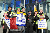 PCS National Strike. 8-3-10 The picket line at the Euston Tower.