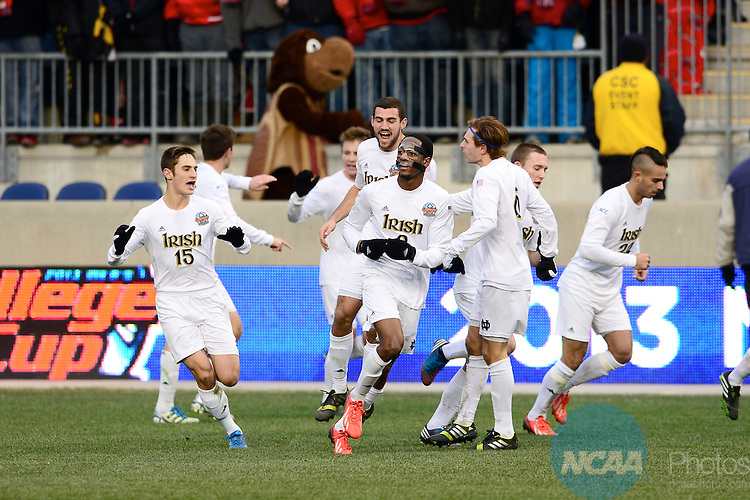 15 DEC 2013:  The University of Notre Dame takes on the University of Maryland during the Division I Men's Soccer Championship held at PPL Park in Philadelphia, PA.  Notre Dame defeated Maryland 2-1 for the national title.  Ben Solomon/NCAA Photos