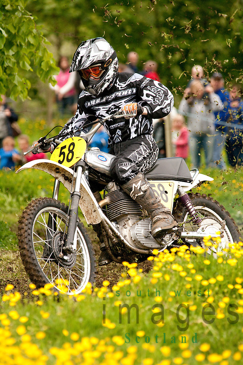 Classic motocross demo at the Barony College open day motorcycle racing through field of spring buttercups near Dumfries Scotland UK