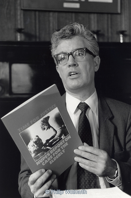 Rodney Bickerstaffe, General Secretary of the National Union of Public Employees (NUPE), at a press conference to launch a report on care for the elderly, London 1986.