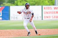 Edward Salcedo #1 of the Rome Braves takes off for third base against the Hagerstown Suns at State Mutual Stadium on May 2, 2011 in Rome, Georgia.   Photo by Brian Westerholt / Four Seam Images