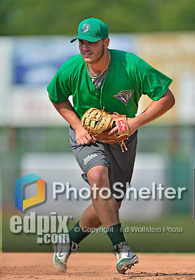 17 July 2013: Vermont Lake Monsters infielder Ryan Huck takes infield drills prior to a game against the Aberdeen Ironbirds at Centennial Field in Burlington, Vermont. The Lake Monsters fell to the Ironbirds 5-1 in NY Penn League action. Mandatory Credit: Ed Wolfstein Photo