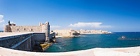 Panoramic photo of Ortigia Castle (Castello Maniace, Castle Maniace) and Ortigia (Ortygia) Old CIty, Syracuse (Siracusa), UNESCO World Heritage Site, Sicily, Italy, Europe. This is a panoramic photo of Ortigia Castle (Castello Maniace, Castle Maniace) and Ortigia (Ortygia) Old CIty, Syracuse (Siracusa), UNESCO World Heritage Site, Sicily, Italy, Europe.