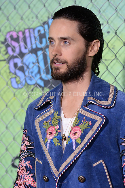 www.acepixs.com<br /> August 1, 2016  New York City<br /> <br /> Jared Leto attending the world premiere of Warner Bros. Pictures and Atlas Entertainment&rsquo;s 'Suicide Squad' at the Beacon Theatre on August 1, 2016 in New York City.<br /> <br /> <br /> Credit: Kristin Callahan/ACE Pictures<br /> <br /> <br /> Tel: 646 769 0430<br /> Email: info@acepixs.com