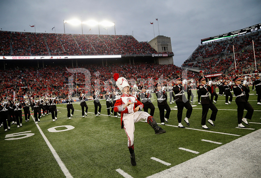 Senior Drum Major John LeVange struts to the sideline as the band forms Script Ohio during their pregame program before a NCAA college football game between the Ohio State Buckeyes and the Illinois Fighting Illini on Saturday, November 18, 2017 at Ohio Stadium in Columbus, Ohio. [Joshua A. Bickel/Dispatch]