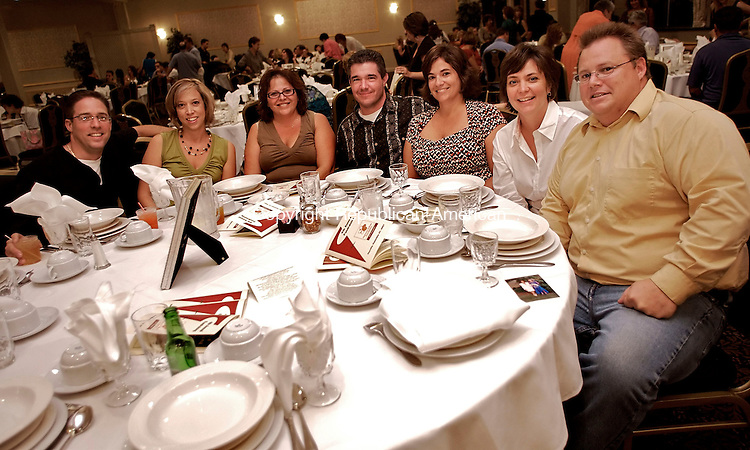 WATERBURY, CT--27 September 07--092707TJ09 - Jerry and Allison Pasquariello, from left, Judy Zeigler, Scott and Sue Laone, and Donna and Brian Donohue attend a fundraiser benefiting the National Kidney Foundation of Connecticut at the Pontelandolfo Club in Waterbury, Conn., on Thursday, September 27, 2007. T.J. Kirkpatrick/Republican-American