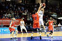 GRONINGEN - Basketbal, Donar - New Heroes, Martiniplaza,  Dutch Basketball League, seizoen 2017-2018, 03-12-2017,  Donar speler Drago Pasalic met Den Bosch speler Stefan Wessels