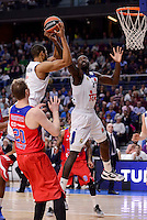 Real Madrid's Anthony Randolph and Othello Hunter and CSKA Moscow XXX during Turkish Airlines Euroleague match between Real Madrid and CSKA Moscow at Wizink Center in Madrid, Spain. January 06, 2017. (ALTERPHOTOS/BorjaB.Hojas)