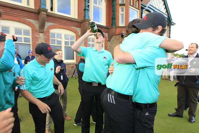 Cormac Sharvin (IRL) with a bottle of bubbly during the afternoon singles for the Walker cup Royal Lytham St Annes, Lytham St Annes, Lancashire, England. 13/09/2015<br /> Picture Golffile | Fran Caffrey<br /> <br /> <br /> All photo usage must carry mandatory copyright credit (&copy; Golffile | Fran Caffrey)