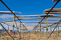 Empty cod Stockfish drying racks, called flakes, in the town of Stamsund, Lofoten, Norway