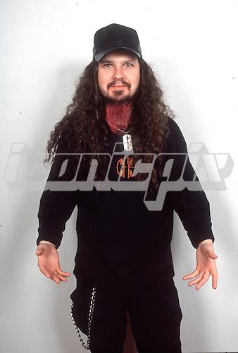 Pantera - Dimebag Darrell Abbott of Pantera- photosession in London UK  - 01 May 1996. <br />  Photo credit: George Chin/IconicPix