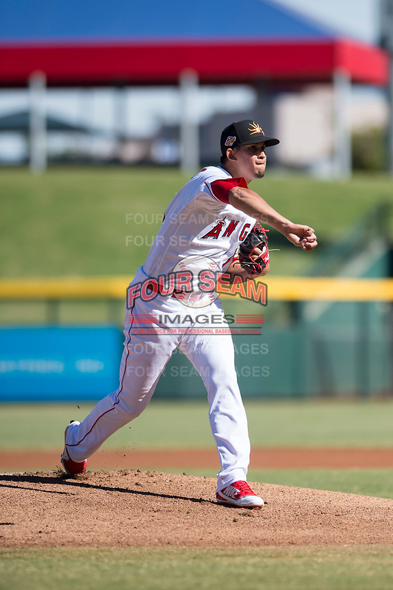 Mesa Solar Sox starting pitcher Jesus Castillo (71), of the Los Angeles Angels organization, delivers a pitch during an Arizona Fall League game against the Surprise Saguaros at Sloan Park on November 1, 2018 in Mesa, Arizona. Surprise defeated Mesa 5-4 . (Zachary Lucy/Four Seam Images)