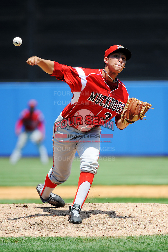 Batavia Muckdogs pitcher Robert Ravago (34) during game against the Staten Island Yankees at Richmond County Bank Ballpark at St.George on July 18, 2013 in Staten Island, NY.  Batavia defeated Staten Island 8-2.  (Tomasso DeRosa/Four Seam Images)