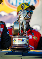 Feb 12, 2017; Pomona, CA, USA; Detailed view of the Wally trophy won by NHRA top fuel driver Leah Pritchett celebrates with her crew after winning the Winternationals at Auto Club Raceway at Pomona. Mandatory Credit: Mark J. Rebilas-USA TODAY Sports