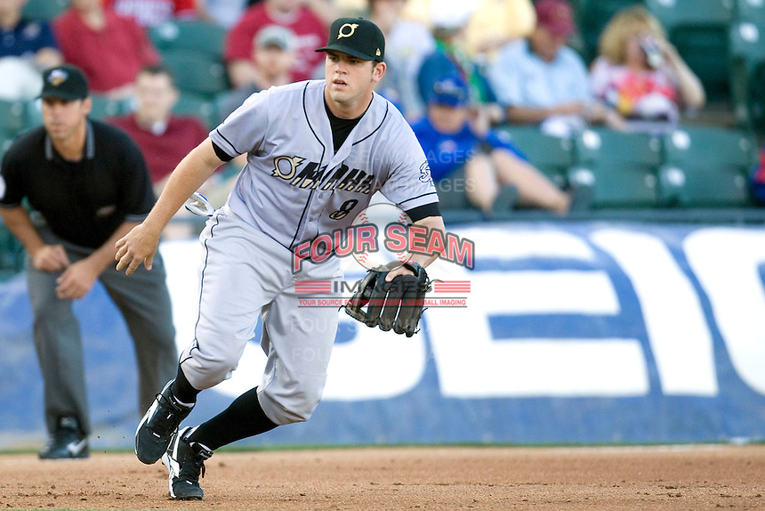 Omaha Storm Chaser third baseman Mike Moustakas against the Round Rock Express in Pacific Coast League baseball on Monday April 11th, 2011 at Dell Diamond in Round Rock Texas.  (Photo by Andrew Woolley / Four Seam Images)