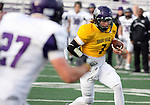 SIOUX FALLS, SD - APRIL 28: Quarterback Taylor Perkins #7 of the University of Sioux Falls scrambles for yardage during the Cougars spring scrimmage Saturday evening at Bob Young Field. (Photo by Dave Eggen/Inertia)