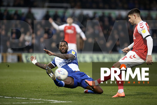 Danny Andrew of Fleetwood Town shoots during the Sky Bet League 1 match between Bristol Rovers and Fleetwood Town at the Memorial Stadium, Bristol, England on 25 January 2020. Photo by Dave Peters / PRiME Media Images.