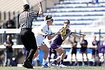 DURHAM, NC - FEBRUARY 18: Northwestern's Selena Lasota (CAN) (2) and Duke's Olivia Jenner (14). The Duke University Blue Devils hosted the Northwestern University Wildcats on February 18, 2018, at Koskinen Stadium in Durham, NC in women's college lacrosse match. Duke won the game 9-8.