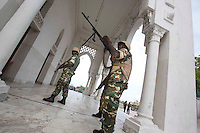 Members of AMISOM stand guard during the siege.
