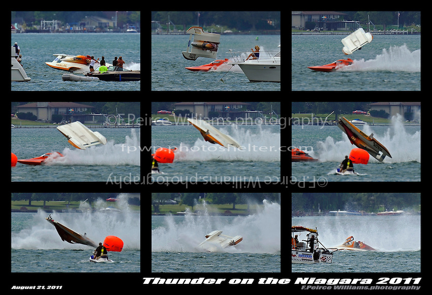 "Frame 6: At the start of the final heat, Kent Henderson, S-00 ""Bank On It""  leads into the first turn when the right side of the boat pulls up and carries the boat into a ""blowover"" flip. The hull spins in the air, comes back to the surface upside down, digs in, and then flips right side up, coming to a rest as CS-79 ""Bad Influence"" races past on the outside. Henderson was uninjured in the accident with slight damage to the boat.  (2.5 Litre Stock hydroplane(s)"
