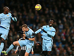 Wilfried Bony of Manchester City just fails to connect with a crossed ball - Barclays Premier League - Manchester City vs Newcastle Utd - Etihad Stadium - Manchester - England - 21st February 2015 - Picture Simon Bellis/Sportimage