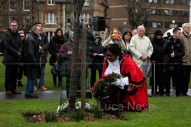 Councillor Dora Dixon-Fyle MBE (Mayor of Southwark).<br /> <br /> London, 27/01/2016. Today is the International Holocaust Day, also called Holocaust Memorial Day in UK and Italy. A day designated by the United Nations General Assembly resolution 60/7 on 1 November 2005 to remember the victims of the Holocaust: 6 million Jews, 2 million Gypsies (Roma and Sinti), 15,000 homosexual people, and millions of others killed by the Nazi regime and its collaborators. The 27th of January (1945) marks the day of the liberation by the Soviet Union army of the largest death camp, Auschwitz-Birkenau.<br />  <br /> To coincide with the Holocaust Memorial Day the Southwark Council organised a remembrance outside the Imperial War Museum. The Mayor of Southwark, Councillor Dora Dixon-Fyle MBE, and the Ambassador of the Russian Federation, Alexander Yakovenko, amongst others, attended the commemoration to remember the victims of the Holocaust and other atrocities. A wreath laying and an act of remembrance were staged at The Soviet War Memorial and The Holocaust Memorial Tree in Geraldine Mary Harmsworth Park from 11.30am. This year marks the 71th anniversary of the liberation of Auschwitz concentration camp, commemorating the millions of people killed in the Holocaust, under Nazi persecution and in subsequent genocides in Cambodia, Rwanda, Bosnia, and Darfur. Guests of honour will include Her Majesty's Deputy Lieutenant, Mr Simon Duckworth OBE, various other civic and diplomatic dignitaries.<br /> <br /> For more information please click here: http://bit.ly/1SjysB1