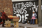 Ireland The Troubles. Belfast 1980s.Protestant wall painting let Bobby Sands die.