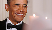 United States President Barack Obama smiles during the National Governors Association 2013 Black-tie Dinner in the State Dining Room of the White House in Washington, D.C., February 24, 2013. .Credit: Olivier Douliery / Pool via CNP