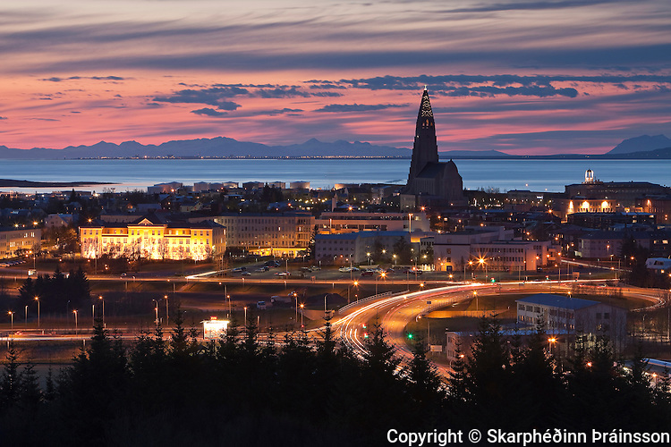 Reykjavik City at sunset, Iceland