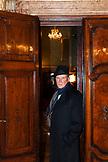 ITALY, Venice. Actor Peter Weller standing in the doorway of his room at the Hotel Danieli.
