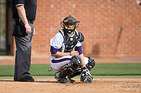 High Point Panthers catcher Cody Oerther (35) looks to the dugout for the sign during game one of a double-header against the NJIT Highlanders at Williard Stadium on February 18, 2017 in High Point, North Carolina.  The Panthers defeated the Highlanders 11-0.  (Brian Westerholt/Four Seam Images)