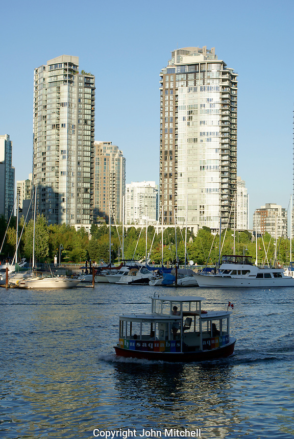 Granville Island aquabus ferry crossing False Creek, Vancouver, British Columbia, Canada