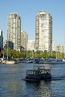Granville Island aquabus ferry crossing False Creek, Vancouver, British Columbia, Canada