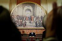 Lesmo (MI): Silvio Berlusconi durante la conferenza stampa a Villa Gernetto a Lesmo ...Lesmo (Milan): Silvio Berlusconi during a press conference at Villa Gernetto in Lesmo near Milan