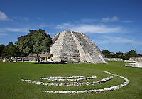 Pyramid of Kukulkan called El Castillo, The Castle, Mayapan, old Maya capital, c. 1250, destroyed during civil war, 1441, Yucatan, Mexico. Picture by Manuel Cohen