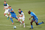 Getafe CF's Nemanja Maksimovic (c-l) and Allan Nyom (r) and Atalanta BC's Mario Pasalic (l) and Robin Gosens during friendly match. August 10,2019. (ALTERPHOTOS/Acero)
