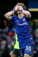 David Luiz shows his frustration after missing an opportunity to increase Chelsea's lead during Chelsea vs Huddersfield Town, Premier League Football at Stamford Bridge on 2nd February 2019