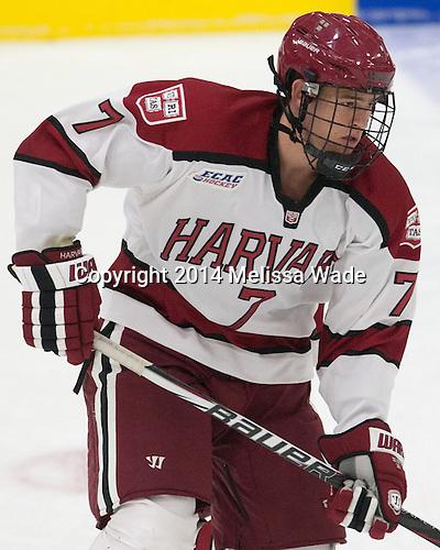 Eddie Ellis (Harvard - 7) - The Harvard University Crimson tied the visiting Dartmouth College Big Green 3-3 in both team's first game of the season on Saturday, November 1, 2014, at Bright-Landry Hockey Center in Cambridge, Massachusetts.