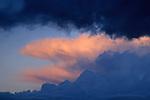 Sunset light on Cumulonimbus thunderclouds, Grand Canyon National Park, Arizona