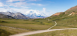 Composite panorama of Denali (Mt. McKinley) and Thorofare Pass  from Stony Hill in Denali National Park in Southcentral Alaska. Summer. Morning.