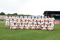 Birmingham Barons team photo before the 20th Annual Rickwood Classic Game against the Jacksonville Suns on May 27, 2015 at Rickwood Field in Birmingham, Alabama.  Jacksonville defeated Birmingham by the score of 8-2 at the countries oldest ballpark, Rickwood opened in 1910 and has been most notably the home of the Birmingham Barons of the Southern League and Birmingham Black Barons of the Negro League.  (Mike Janes/Four Seam Images)
