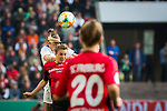 01.05.2019, RheinEnergie Stadion , Köln, GER, DFB Pokalfinale der Frauen, VfL Wolfsburg vs SC Freiburg, DFB REGULATIONS PROHIBIT ANY USE OF PHOTOGRAPHS AS IMAGE SEQUENCES AND/OR QUASI-VIDEO<br /> <br /> im Bild | picture shows:<br /> Kopfballduell mit Anna Blaesse (VfL Wolfsburg #9), <br /> <br /> Foto © nordphoto / Rauch