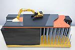 GROOT AMMERS - Model van grond, heipalen, bodem en een graafmachine, nodig voor de aanleg van Megatrax op een 30.000 m2 groot bedrijventerrein voor Van der Vlist Speciaal -en Zwaartransport in Groot Ammers. Megatrax bestaat uit restgrond, baggerspecie en mijnsteen, dat verstevigd is met een poeder waardoor grote stevigheid onstaat en het als goedkoop alternatief voor beton kan functioneren als ondergrond. De grond steunt op in de betonmortelpalen. COPYRIGHT TON BORSBOOM...