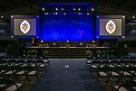 The stage is set for the DePaul University College of Science and Health and College of Liberal Arts and Social Sciences gather backstage for the 119th commencement ceremonies Sunday, June 11, 2017, at the Allstate Arena in Rosemont, IL. (DePaul University/Jamie Moncrief)