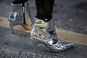 Street Style during Paris Fashion Week Spring Summer 2018 on Saturday 30th September 2017. Image shows a pair of silver ankle boots from Topshop.(Photo by JSTREETSTYLE/AFLO)(Photo by JSTREETSTYLE/AFLO)