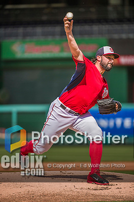 22 May 2015: Washington Nationals pitcher Tanner Roark pitches a game simulations prior to a game against the Philadelphia Phillies at Nationals Park in Washington, DC. The Nationals defeated the Phillies 2-1 in the first game of their 3-game weekend series. Mandatory Credit: Ed Wolfstein Photo *** RAW (NEF) Image File Available ***