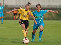 20200820 - TUBIZE , Belgium : Belgium's Alix Bosteels (20) battle for the ball pictured during a friendly match between Belgian national women's youth soccer team called the Red Flames U17 and Union Saint-Ghislain Tetre , on the 20th of August 2020 in Tubize.  PHOTO: Sportpix.be | SEVIL OKTEM